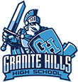 Granite Hills High School eagle mascot with helmet, shield and sword